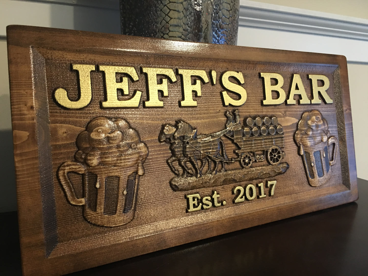 Personalized Man Cave Bar Signs : Wood carved personalized bar sign man cave pub