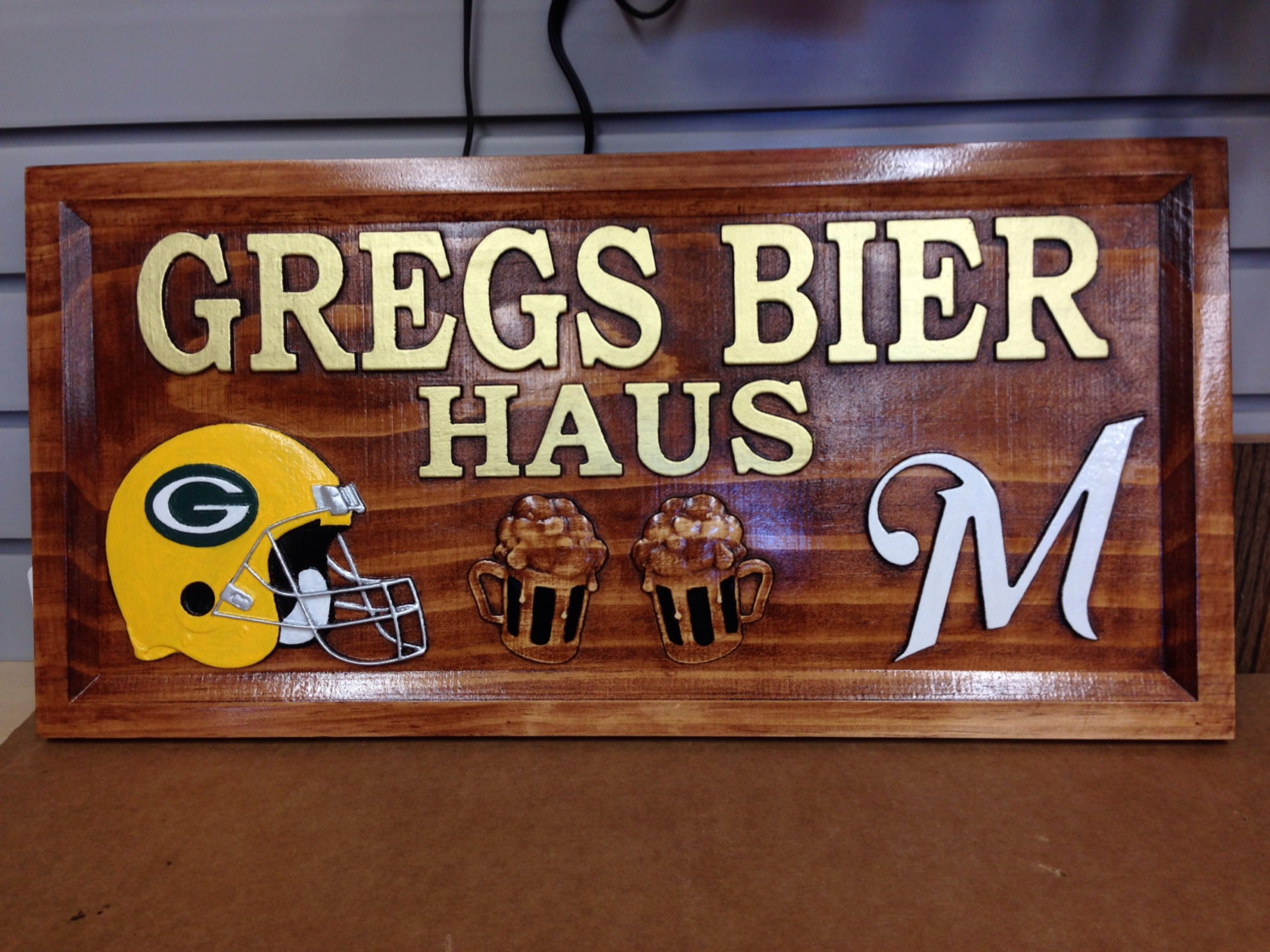 Man Cave Signs Sports : Sports bar signs aj wood products custom carved