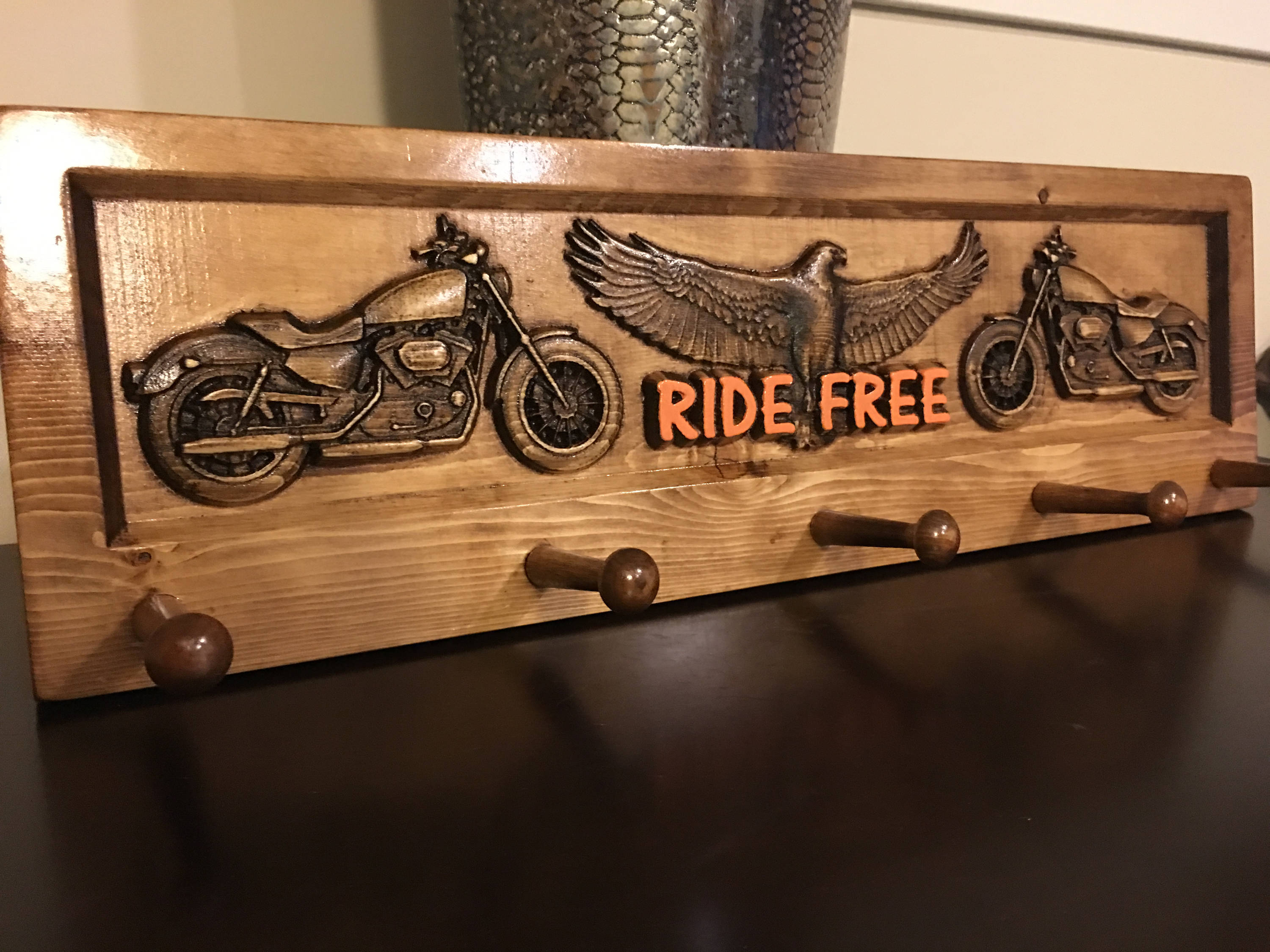 "Motorcycle Theme Decorative Coat Rack American Motorcycle Theme /""RIDE FREE/"""