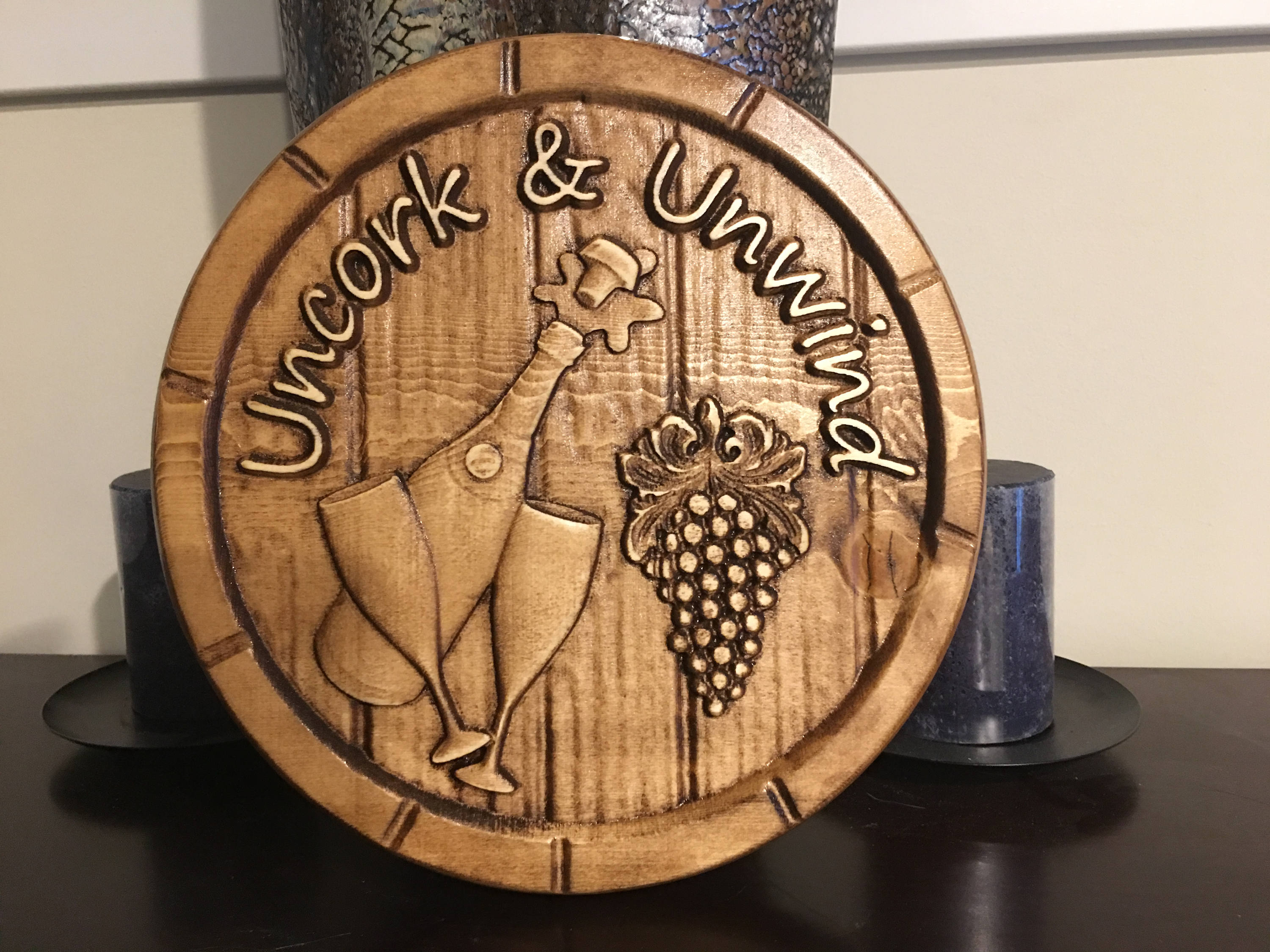 Wood carved wine plaque with the saying quot uncork unwind