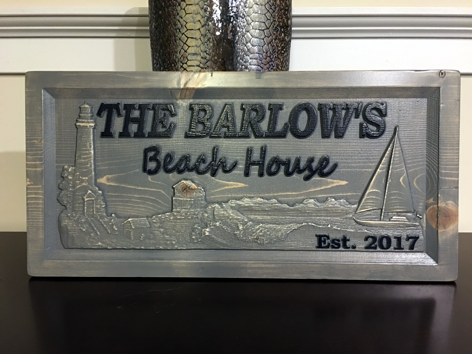 Wood carved personalized beach house sign with families for Custom beach house